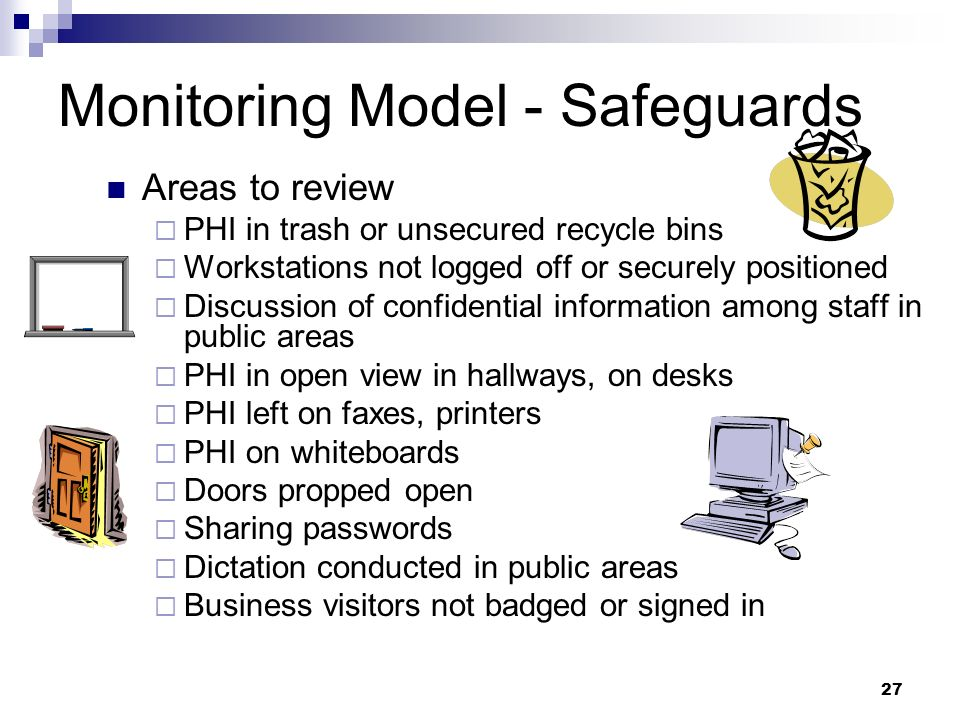 27 Monitoring Model - Safeguards Areas to review PHI in trash or unsecured recycle bins Workstations not logged off or securely positioned Discussion