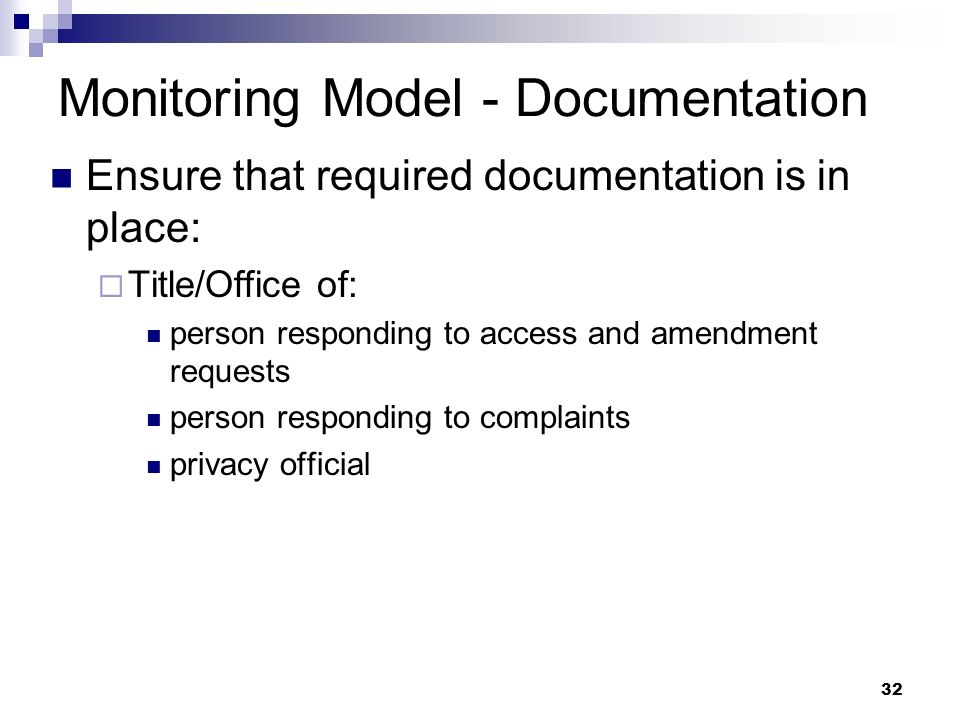 32 Monitoring Model - Documentation Ensure that required documentation is in place: Title/Office of: person responding to access and amendment request