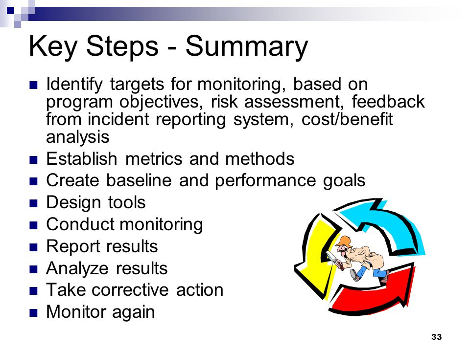 33 Key Steps - Summary Identify targets for monitoring, based on program objectives, risk assessment, feedback from incident reporting system, cost/be