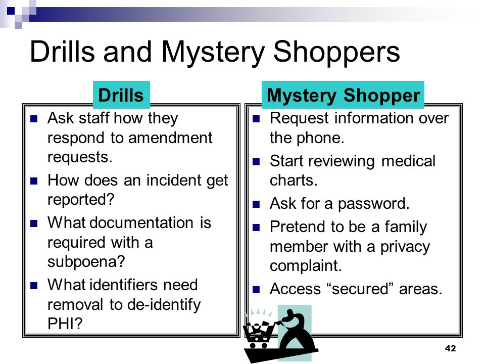 42 Drills and Mystery Shoppers Ask staff how they respond to amendment requests. How does an incident get reported? What documentation is required wit