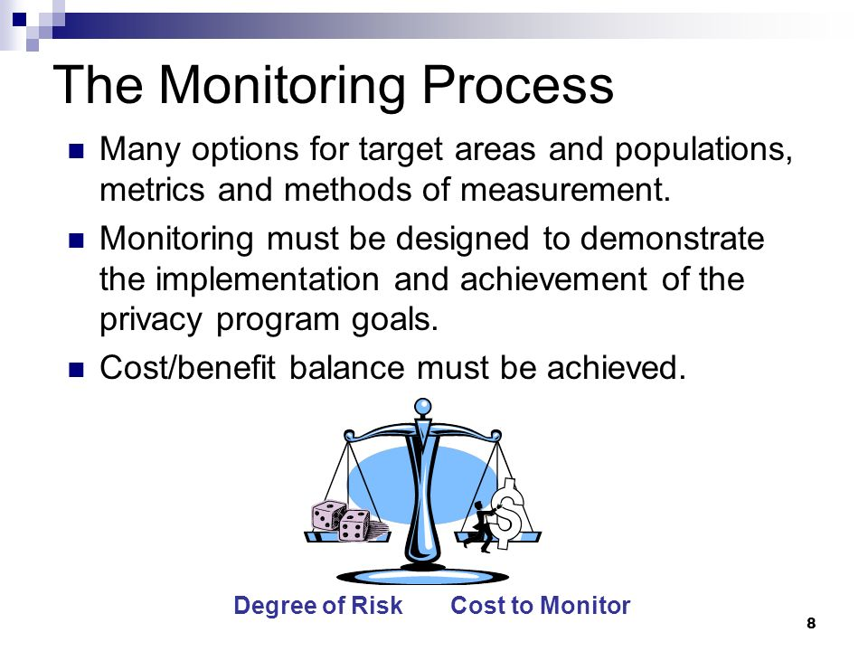 8 The Monitoring Process Many options for target areas and populations, metrics and methods of measurement. Monitoring must be designed to demonstrate