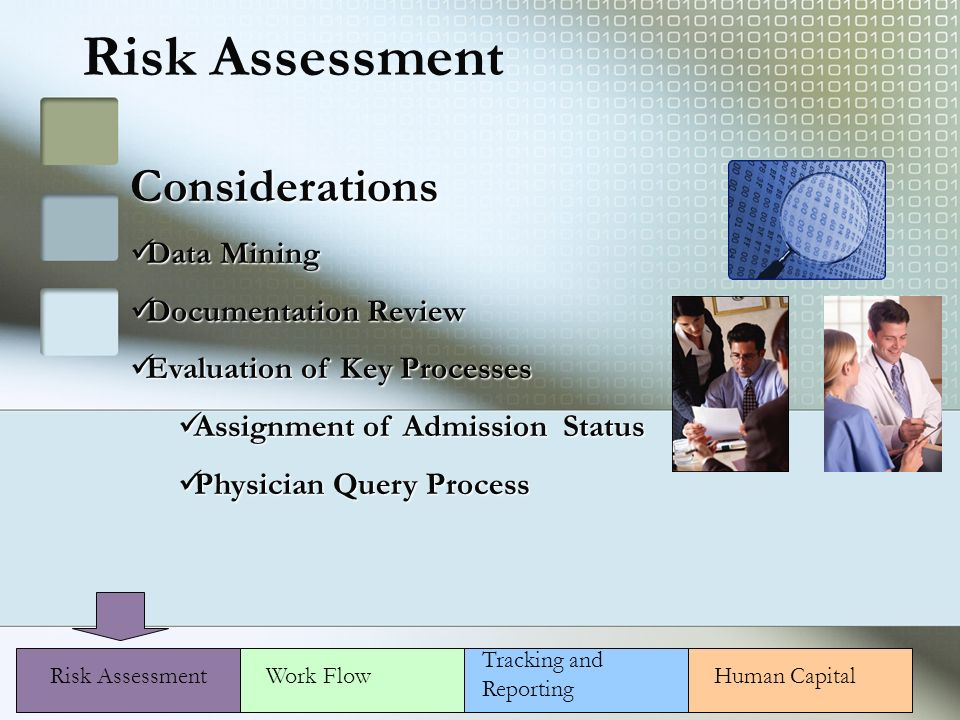 Risk Assessment Considerations Data Mining Data Mining Documentation Review Documentation Review Evaluation of Key Processes Evaluation of Key Processes Assignment of Admission Status Assignment of Admission Status Physician Query Process Physician Query Process Risk AssessmentWork Flow Tracking and Reporting Human Capital
