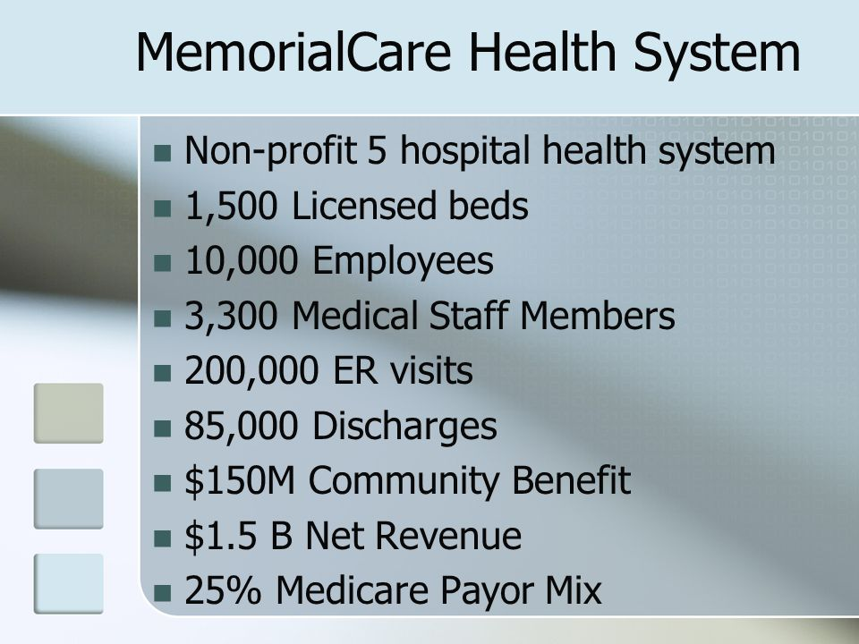 MemorialCare Health System Non-profit 5 hospital health system 1,500 Licensed beds 10,000 Employees 3,300 Medical Staff Members 200,000 ER visits 85,000 Discharges $150M Community Benefit $1.5 B Net Revenue 25% Medicare Payor Mix