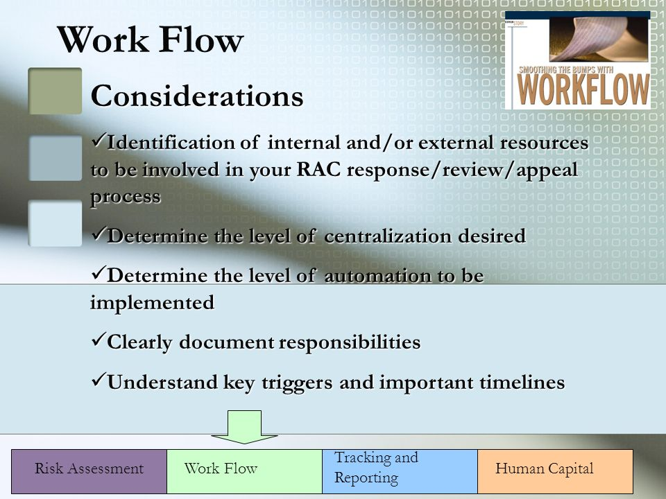 Work Flow Considerations Identification of internal and/or external resources to be involved in your RAC response/review/appeal process Identification of internal and/or external resources to be involved in your RAC response/review/appeal process Determine the level of centralization desired Determine the level of centralization desired Determine the level of automation to be implemented Determine the level of automation to be implemented Clearly document responsibilities Clearly document responsibilities Understand key triggers and important timelines Understand key triggers and important timelines Risk AssessmentHuman CapitalWork Flow Tracking and Reporting