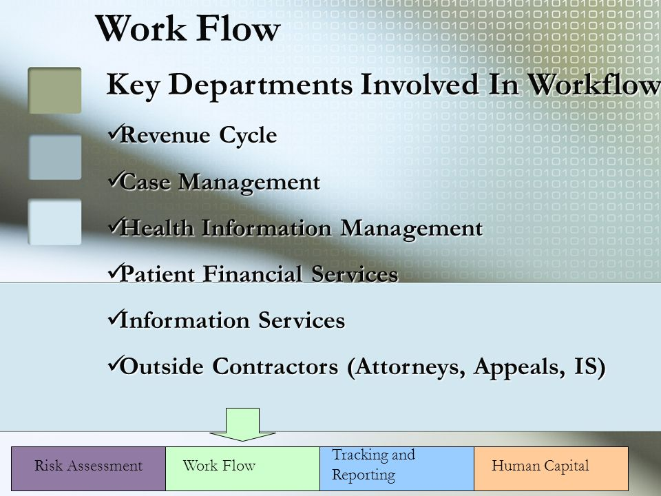 Work Flow Risk Assessment Key Departments Involved In Workflow Revenue Cycle Revenue Cycle Case Management Case Management Health Information Management Health Information Management Patient Financial Services Patient Financial Services Information Services Information Services Outside Contractors (Attorneys, Appeals, IS) Outside Contractors (Attorneys, Appeals, IS) Human CapitalWork Flow Tracking and Reporting