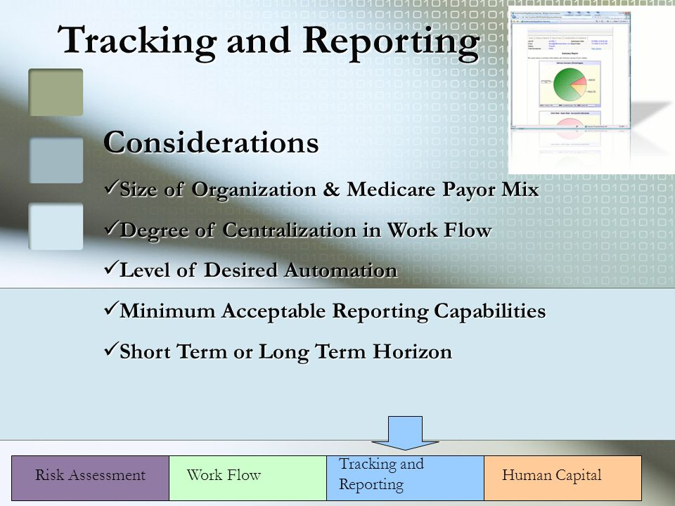 Risk Assessment Considerations Size of Organization & Medicare Payor Mix Size of Organization & Medicare Payor Mix Degree of Centralization in Work Flow Degree of Centralization in Work Flow Level of Desired Automation Level of Desired Automation Minimum Acceptable Reporting Capabilities Minimum Acceptable Reporting Capabilities Short Term or Long Term Horizon Short Term or Long Term Horizon Human CapitalWork Flow Tracking and Reporting