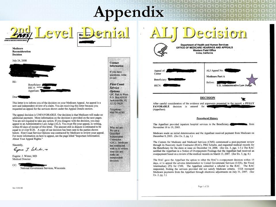 2 nd Level Denial ALJ Decision Appendix