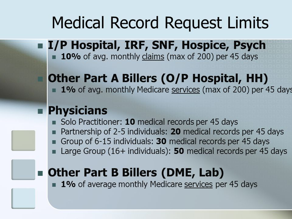 Medical Record Request Limits I/P Hospital, IRF, SNF, Hospice, Psych 10% of avg.