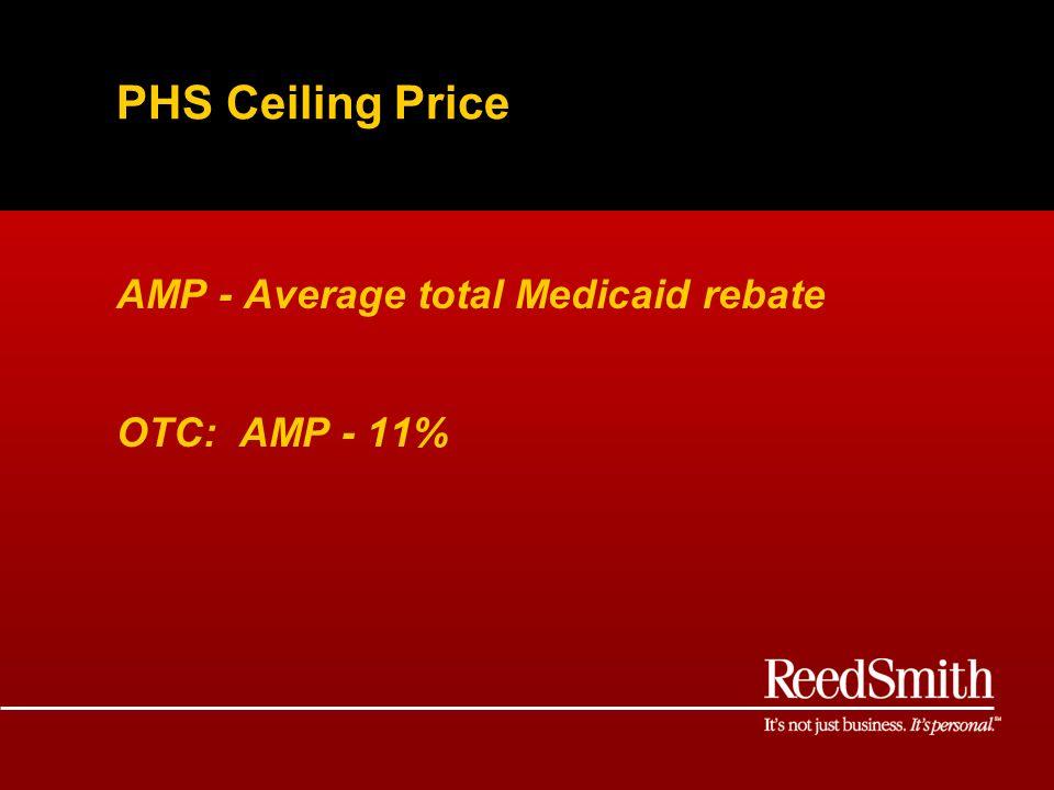 PHS Ceiling Price AMP - Average total Medicaid rebate OTC: AMP - 11%