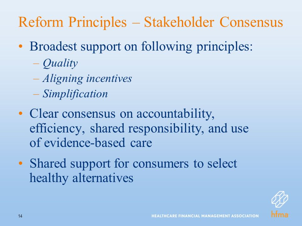 14 Reform Principles – Stakeholder Consensus Broadest support on following principles: –Quality –Aligning incentives –Simplification Clear consensus on accountability, efficiency, shared responsibility, and use of evidence-based care Shared support for consumers to select healthy alternatives