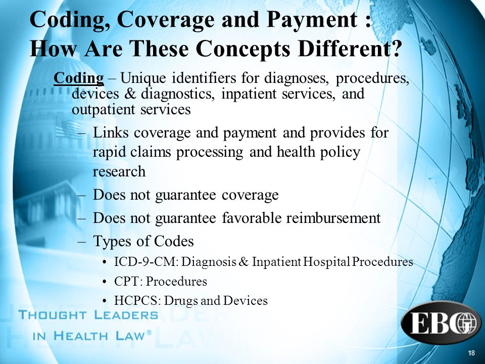18 Coding, Coverage and Payment : How Are These Concepts Different? Coding – Unique identifiers for diagnoses, procedures, devices & diagnostics, inpa