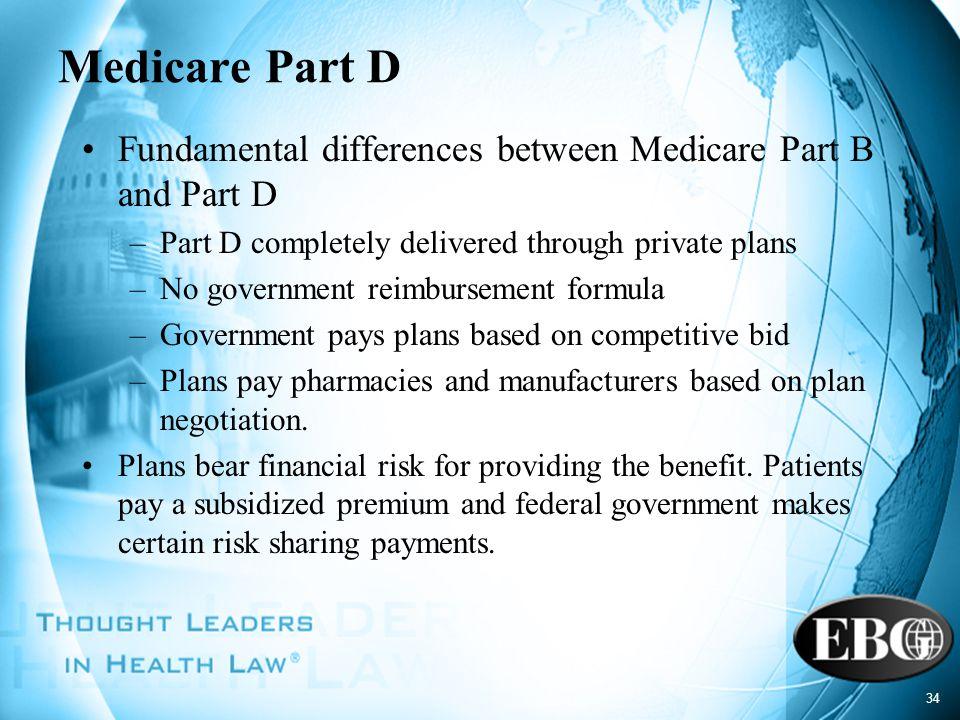 34 Medicare Part D Fundamental differences between Medicare Part B and Part D –Part D completely delivered through private plans –No government reimbu