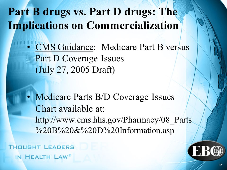 35 Part B drugs vs. Part D drugs: The Implications on Commercialization CMS Guidance: Medicare Part B versus Part D Coverage Issues (July 27, 2005 Dra