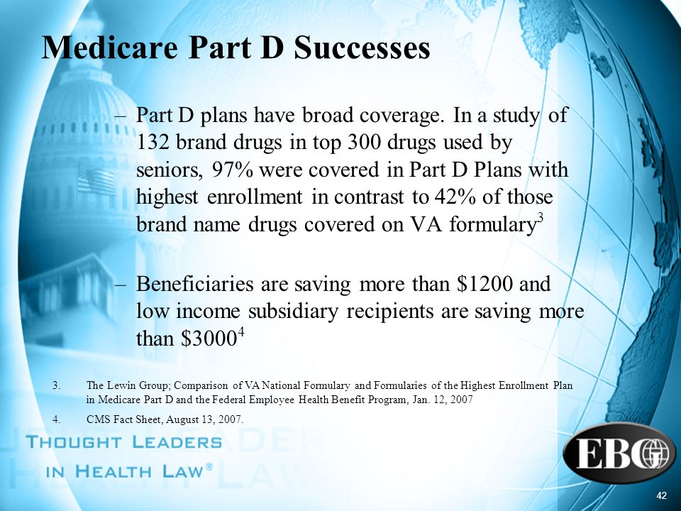 42 Medicare Part D Successes –Part D plans have broad coverage. In a study of 132 brand drugs in top 300 drugs used by seniors, 97% were covered in Pa