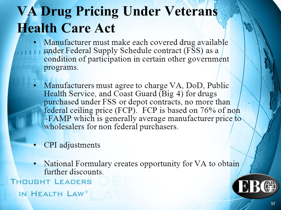 57 VA Drug Pricing Under Veterans Health Care Act Manufacturer must make each covered drug available under Federal Supply Schedule contract (FSS) as a