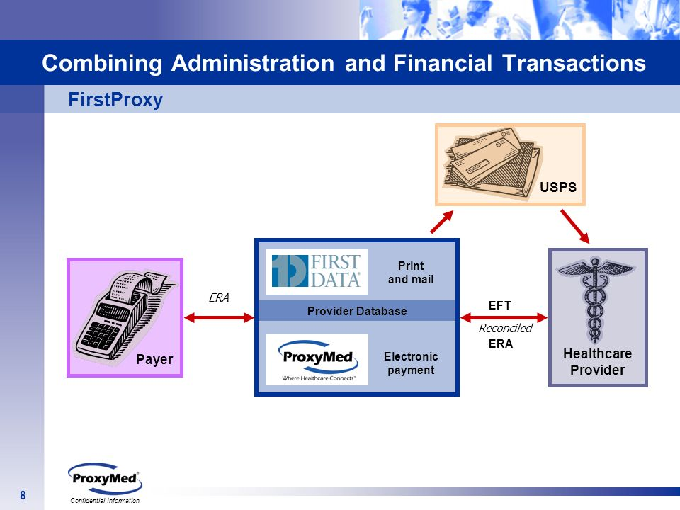 8 Confidential Information Provider Database Print and mail Electronic payment Combining Administration and Financial Transactions ERA EFT Reconciled