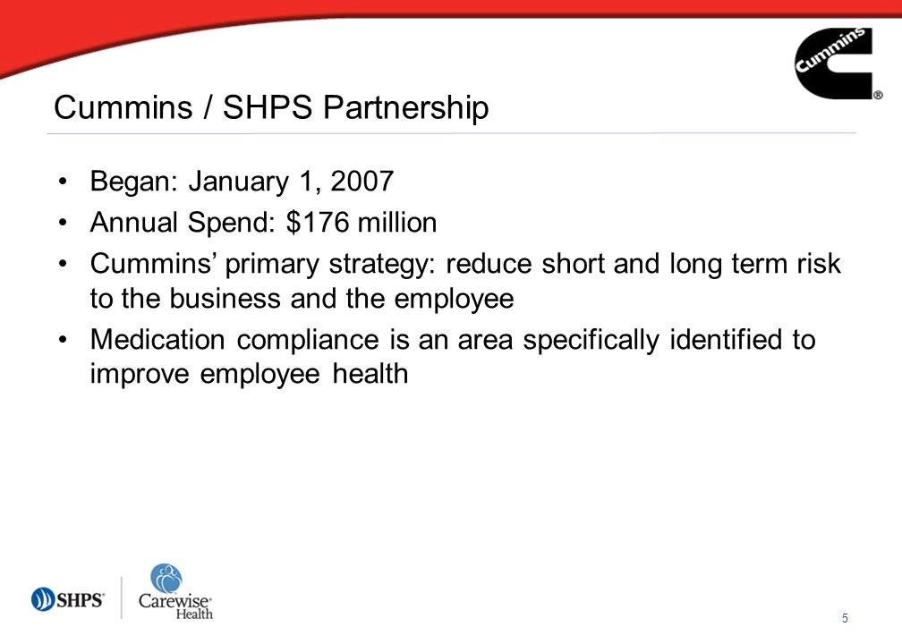 5 Cummins / SHPS Partnership Began: January 1, 2007 Annual Spend: $176 million Cummins primary strategy: reduce short and long term risk to the business and the employee Medication compliance is an area specifically identified to improve employee health