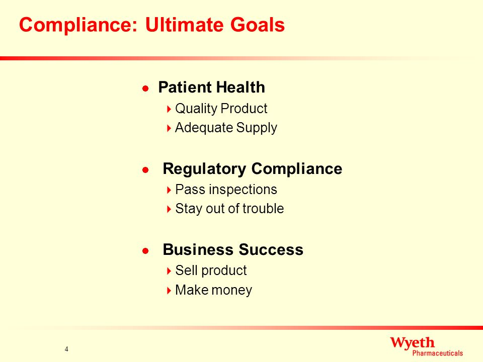 3 Compliance Compliance With What? Law and regulation Good manufacturing practices Agency expectations Internal rules How Is Compliance Achieved? Sett