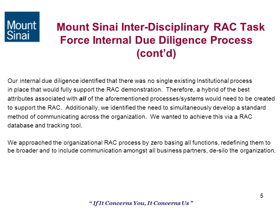 5 Mount Sinai Inter-Disciplinary RAC Task Force Internal Due Diligence Process (contd) Our internal due diligence identified that there was no single