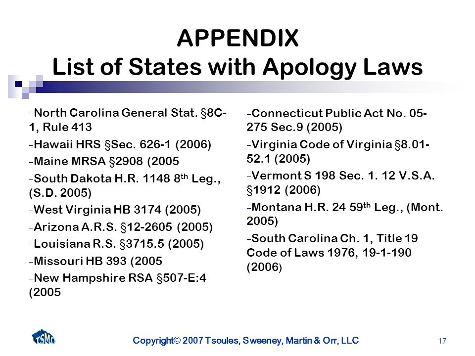 Copyright © 2007 Tsoules, Sweeney, Martin & Orr, LLC 17 APPENDIX List of States with Apology Laws North Carolina General Stat.