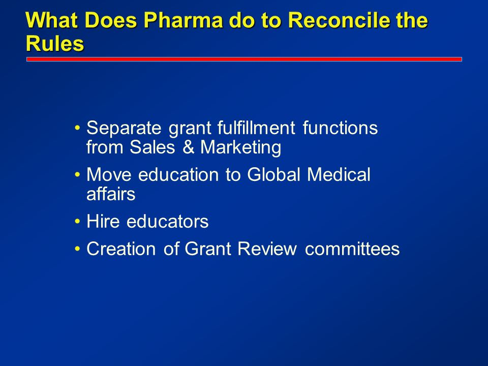 What Does Pharma do to Reconcile the Rules Separate grant fulfillment functions from Sales & Marketing Move education to Global Medical affairs Hire educators Creation of Grant Review committees