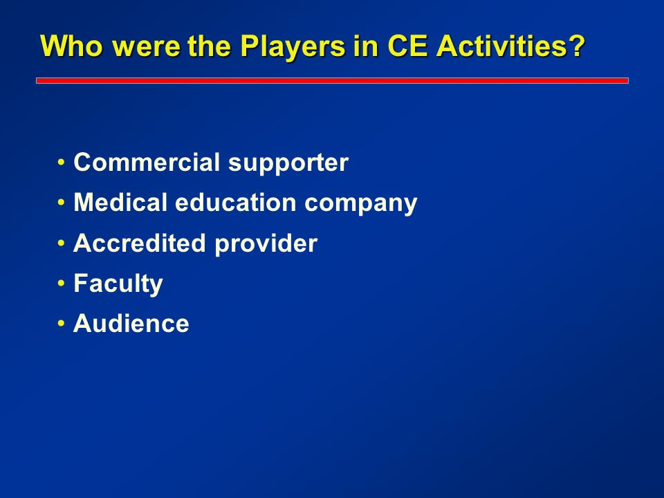 Who were the Players in CE Activities? Commercial supporter Medical education company Accredited provider Faculty Audience