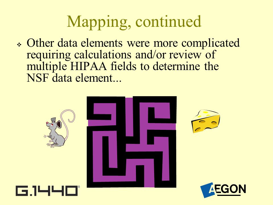 Mapping, continued Other data elements were more complicated requiring calculations and/or review of multiple HIPAA fields to determine the NSF data element...