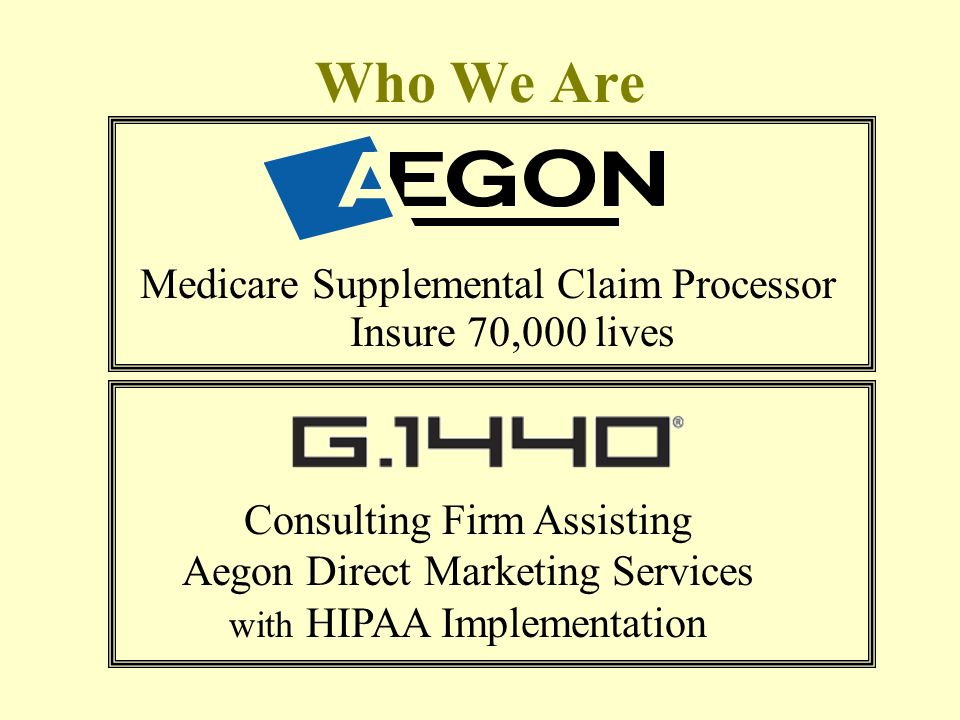 Who We Are Medicare Supplemental Claim Processor Insure 70,000 lives Consulting Firm Assisting Aegon Direct Marketing Services with HIPAA Implementation