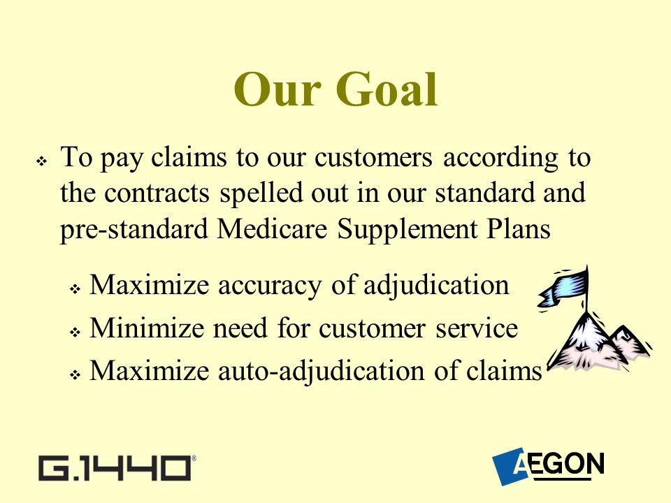 Our Goal To pay claims to our customers according to the contracts spelled out in our standard and pre-standard Medicare Supplement Plans Maximize accuracy of adjudication Minimize need for customer service Maximize auto-adjudication of claims