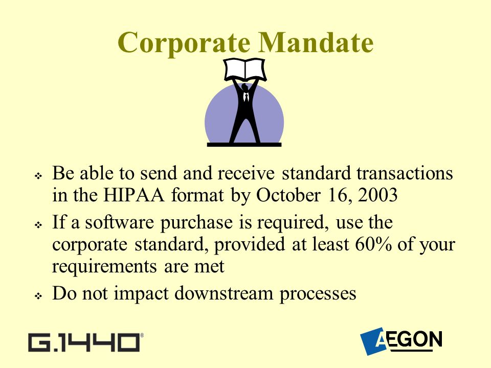 Corporate Mandate Be able to send and receive standard transactions in the HIPAA format by October 16, 2003 If a software purchase is required, use the corporate standard, provided at least 60% of your requirements are met Do not impact downstream processes