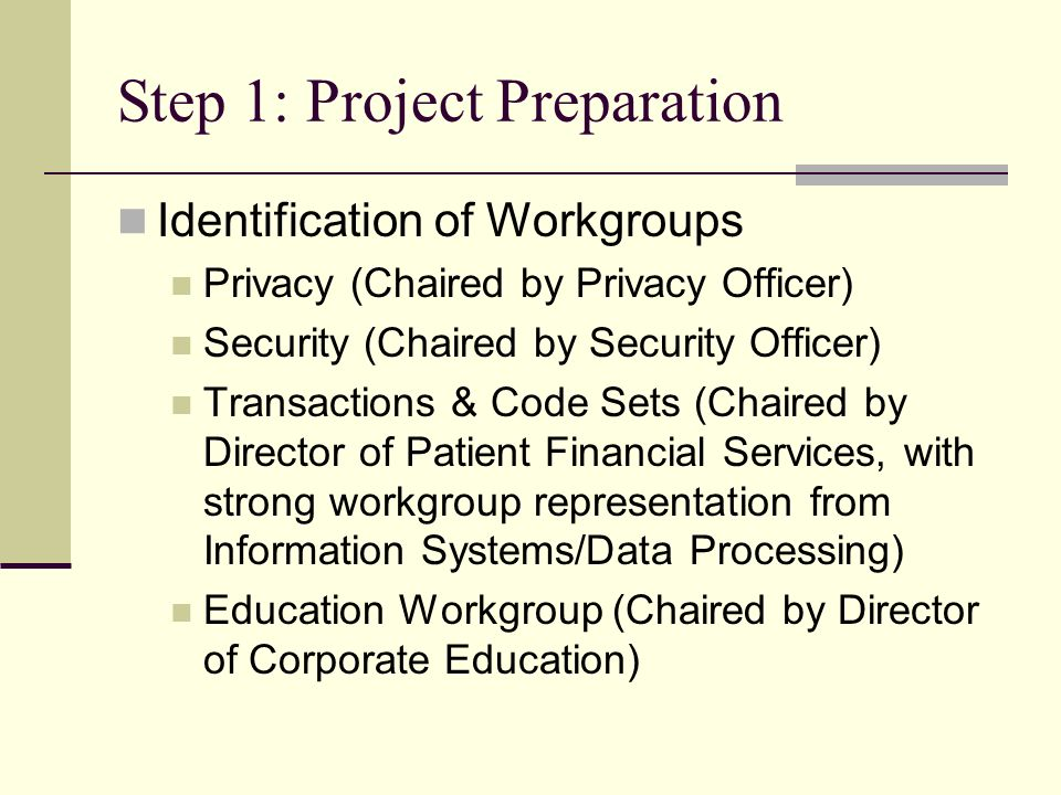Step 1: Project Preparation Identification of Workgroups Privacy (Chaired by Privacy Officer) Security (Chaired by Security Officer) Transactions & Code Sets (Chaired by Director of Patient Financial Services, with strong workgroup representation from Information Systems/Data Processing) Education Workgroup (Chaired by Director of Corporate Education)