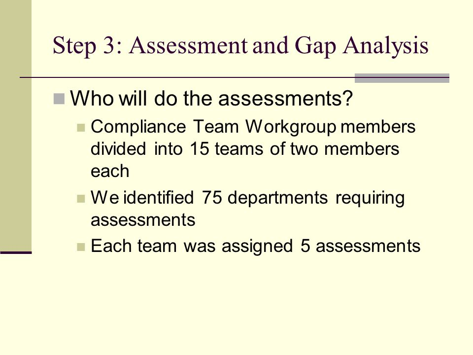 Step 3: Assessment and Gap Analysis Who will do the assessments.