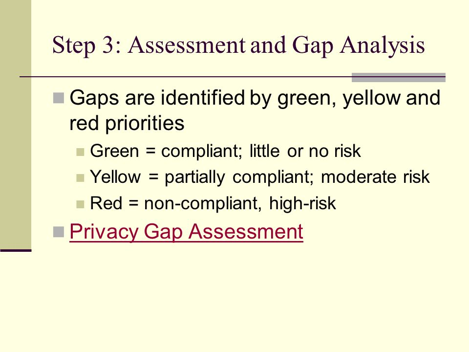Step 3: Assessment and Gap Analysis Gaps are identified by green, yellow and red priorities Green = compliant; little or no risk Yellow = partially compliant; moderate risk Red = non-compliant, high-risk Privacy Gap Assessment
