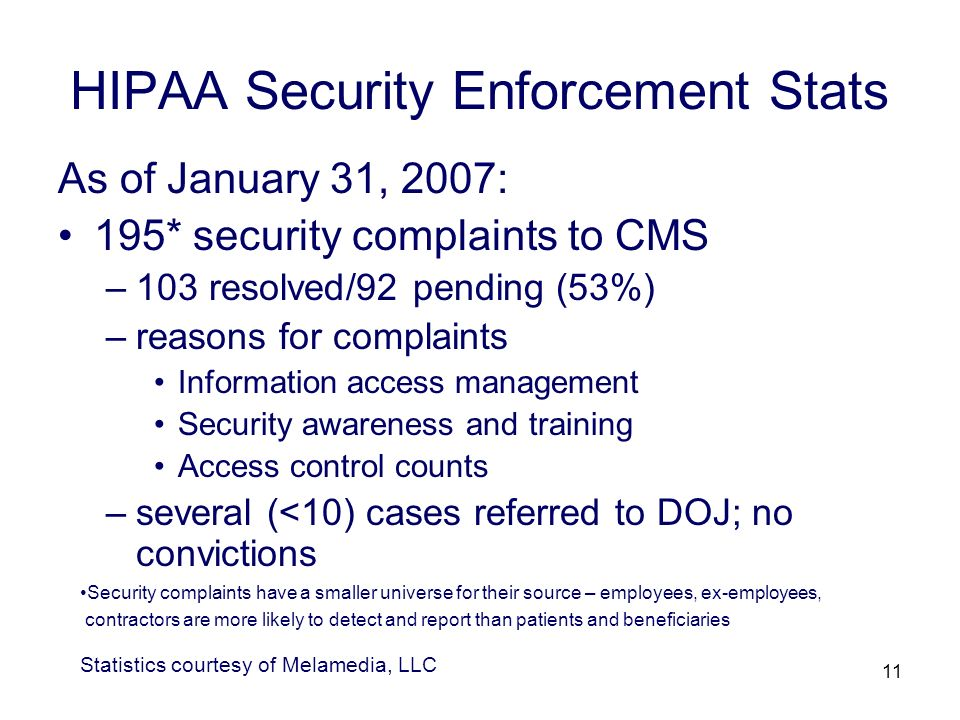 11 HIPAA Security Enforcement Stats As of January 31, 2007: 195* security complaints to CMS –103 resolved/92 pending (53%) –reasons for complaints Information access management Security awareness and training Access control counts –several (<10) cases referred to DOJ; no convictions Statistics courtesy of Melamedia, LLC Security complaints have a smaller universe for their source – employees, ex-employees, contractors are more likely to detect and report than patients and beneficiaries