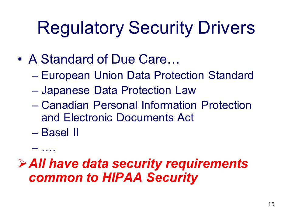 15 Regulatory Security Drivers A Standard of Due Care… –European Union Data Protection Standard –Japanese Data Protection Law –Canadian Personal Infor