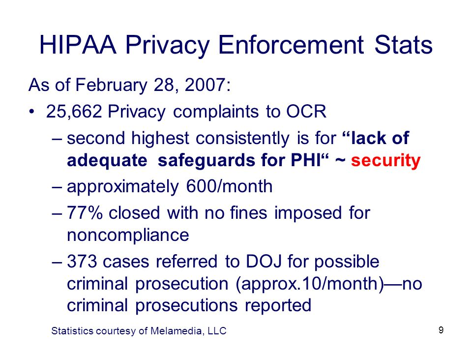 9 HIPAA Privacy Enforcement Stats As of February 28, 2007: 25,662 Privacy complaints to OCR –second highest consistently is for lack of adequate safeg