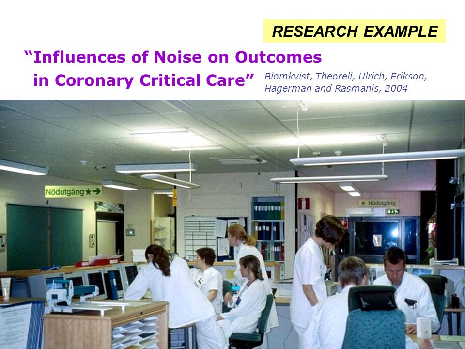 Influences of Noise on Outcomes in Coronary Critical Care RESEARCH EXAMPLE Blomkvist, Theorell, Ulrich, Erikson, Hagerman and Rasmanis, 2004