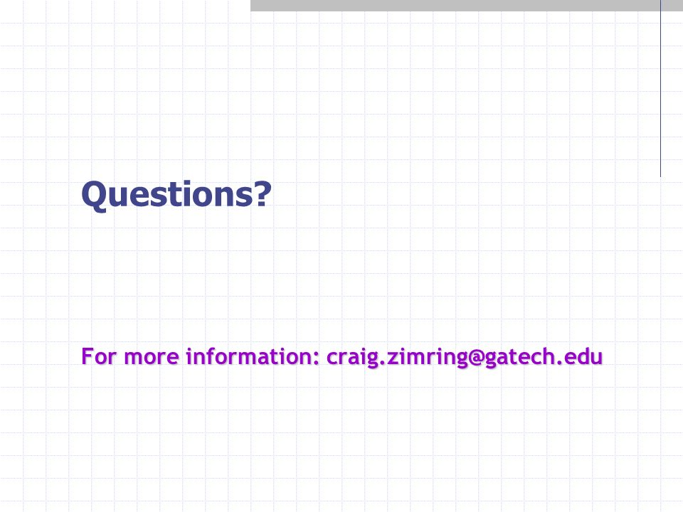 Questions? For more information: craig.zimring@gatech.edu