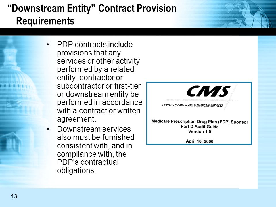 13 Downstream Entity Contract Provision Requirements PDP contracts include provisions that any services or other activity performed by a related entity, contractor or subcontractor or first-tier or downstream entity be performed in accordance with a contract or written agreement.