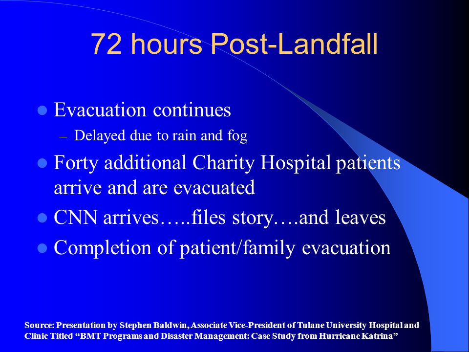 72 hours Post-Landfall Evacuation continues – Delayed due to rain and fog Forty additional Charity Hospital patients arrive and are evacuated CNN arri