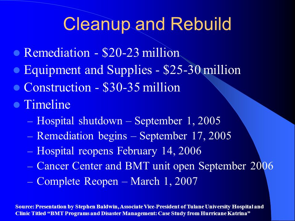 Cleanup and Rebuild Remediation - $20-23 million Equipment and Supplies - $25-30 million Construction - $30-35 million Timeline – Hospital shutdown –