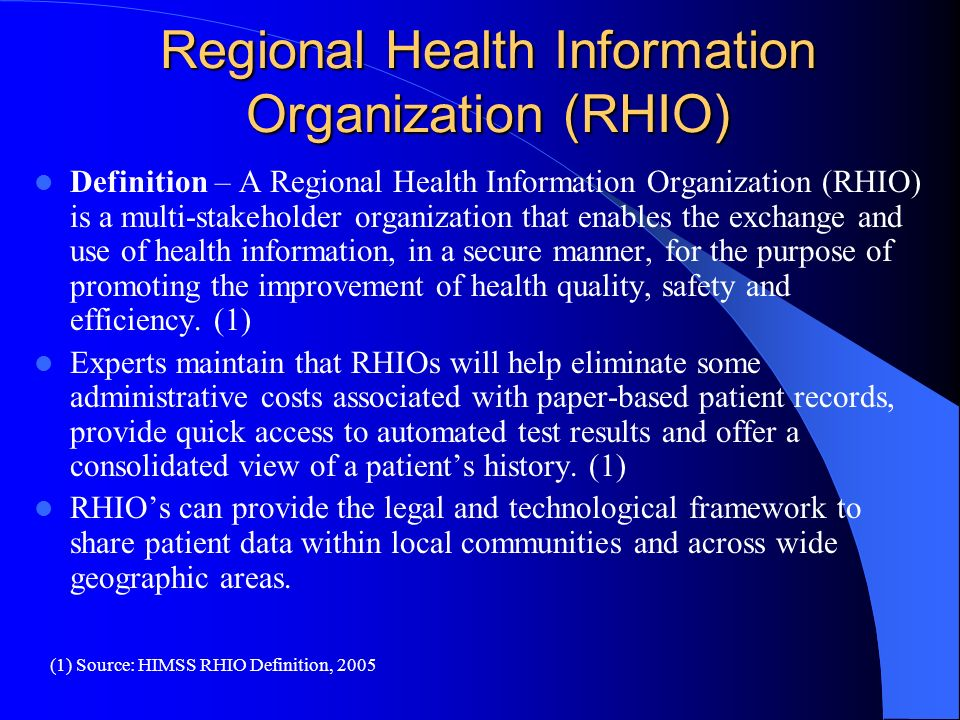 Regional Health Information Organization (RHIO) Definition – A Regional Health Information Organization (RHIO) is a multi-stakeholder organization tha