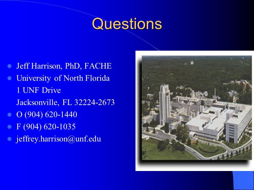 Questions Jeff Harrison, PhD, FACHE University of North Florida 1 UNF Drive Jacksonville, FL 32224-2673 O (904) 620-1440 F (904) 620-1035 jeffrey.harr