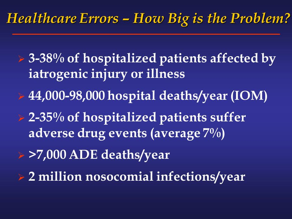 Healthcare Errors – How Big is the Problem. Healthcare Errors – How Big is the Problem.