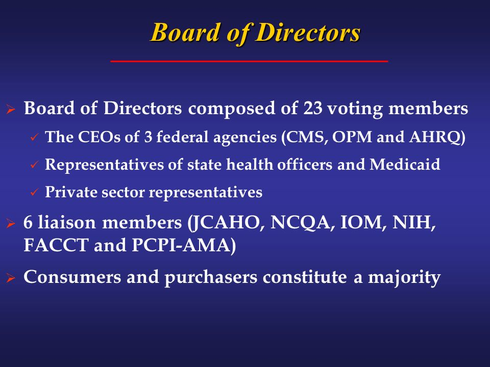 Board of Directors Board of Directors composed of 23 voting members The CEOs of 3 federal agencies (CMS, OPM and AHRQ) Representatives of state health officers and Medicaid Private sector representatives 6 liaison members (JCAHO, NCQA, IOM, NIH, FACCT and PCPI-AMA) Consumers and purchasers constitute a majority
