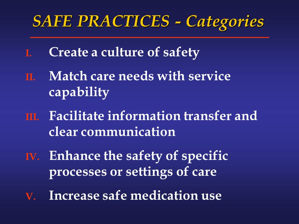 SAFE PRACTICES - Categories I. Create a culture of safety II.