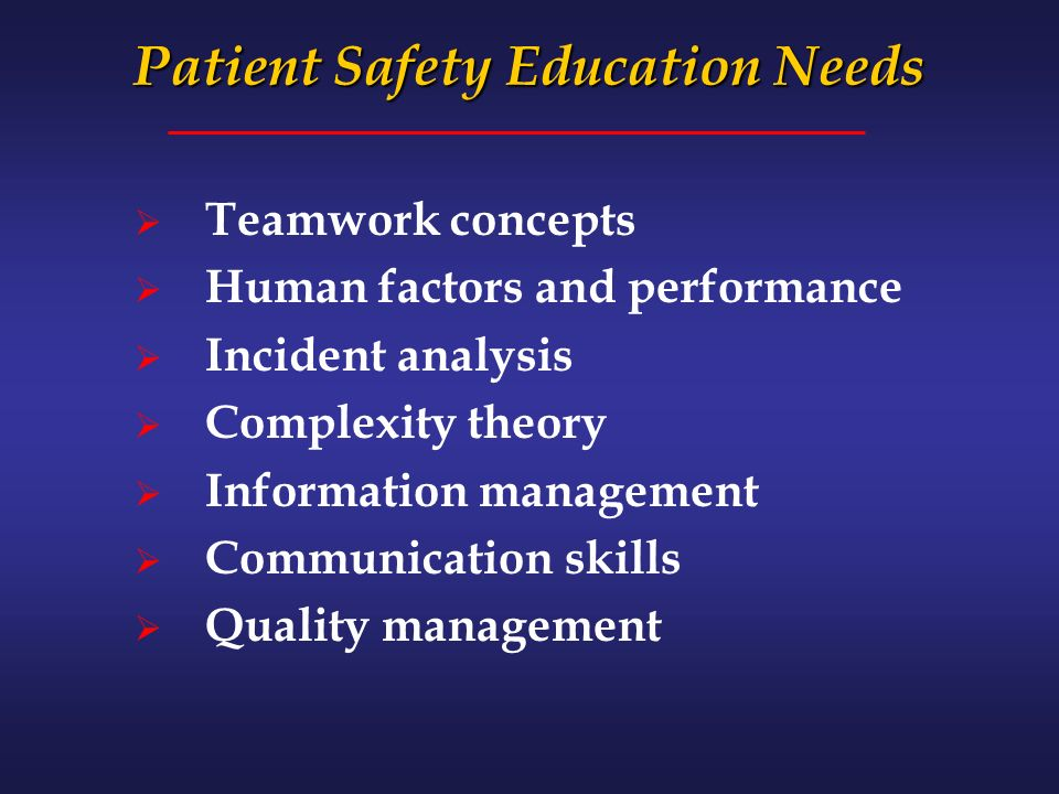 Patient Safety Education Needs Teamwork concepts Human factors and performance Incident analysis Complexity theory Information management Communication skills Quality management