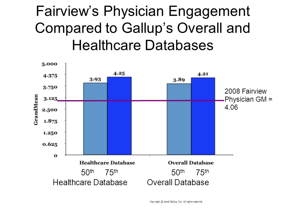 Fairviews Physician Engagement Compared to Gallups Overall and Healthcare Databases 50 th 75 th 50 th 75 th Healthcare Database Overall Database 2008