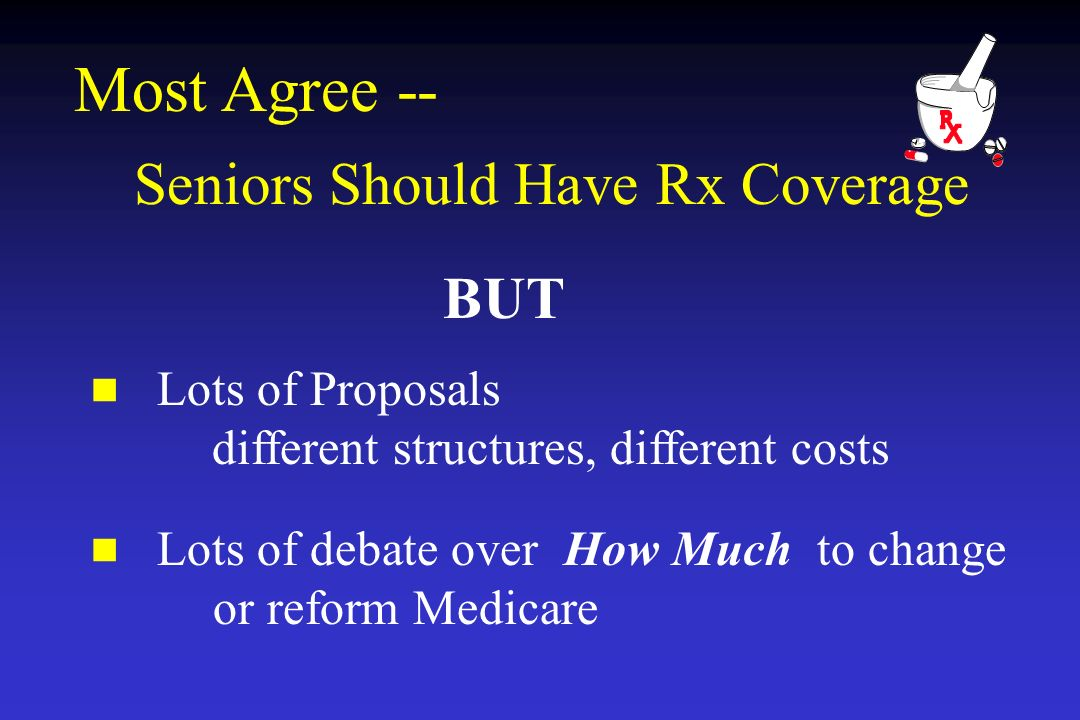 Most Agree -- Seniors Should Have Rx Coverage Lots of Proposals different structures, different costs Lots of debate over How Much to change or reform Medicare BUT