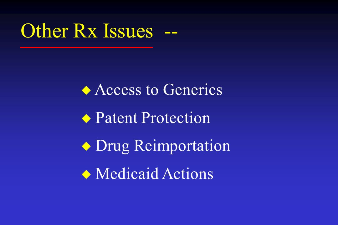 Other Rx Issues -- Access to Generics Patent Protection Drug Reimportation Medicaid Actions